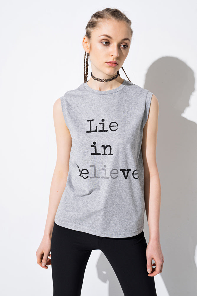 Grey 'Believe' Cotton Graphic Tank - front row shop