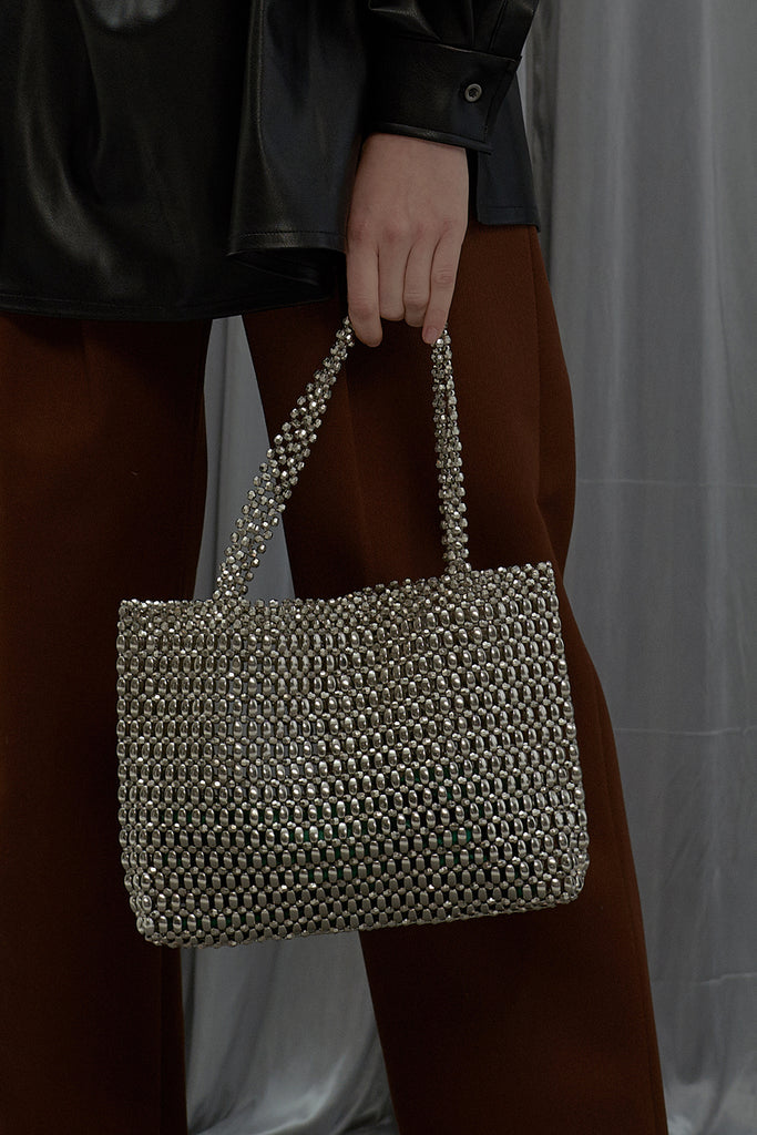 Call Me Tote Bag-Silver