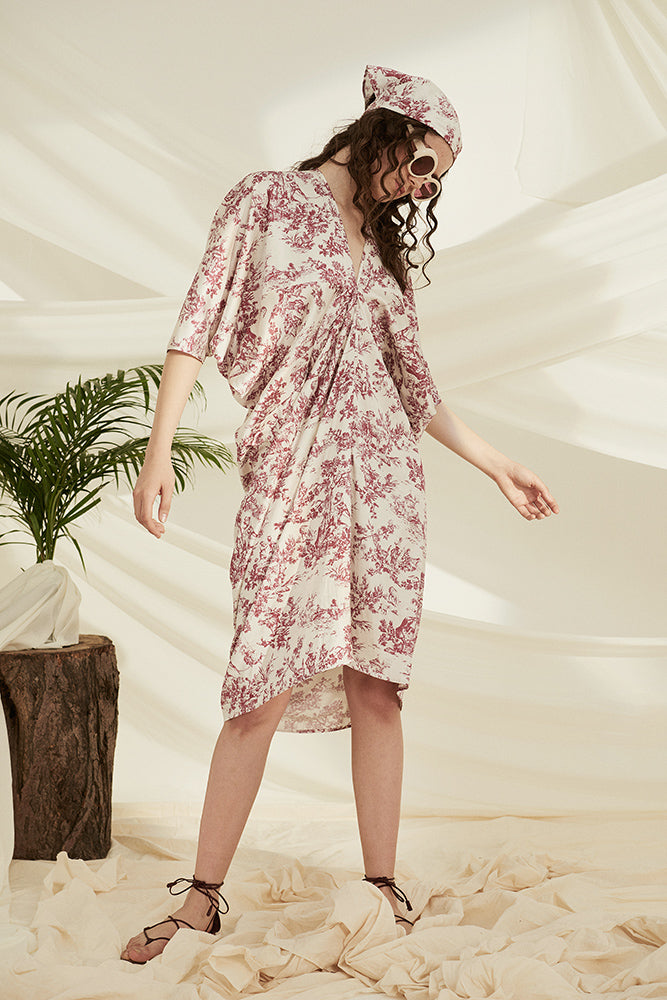 Vintage Print Shirring Front Cover Up Dress
