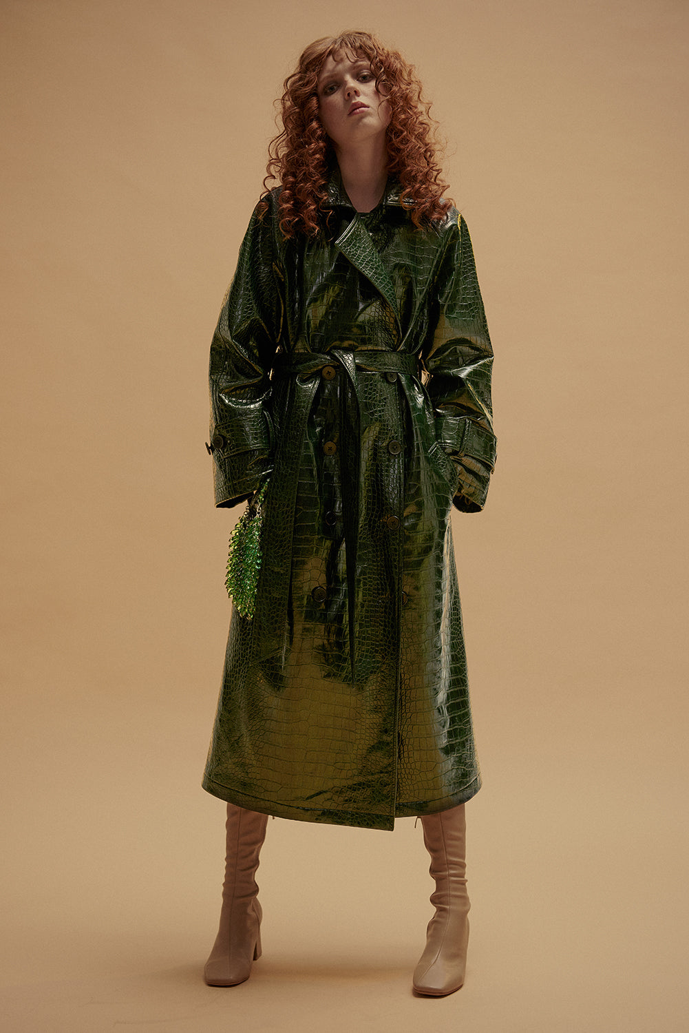 Kookoo Trench Coat-Dark Green