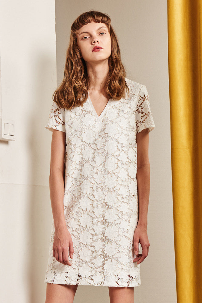 Floral Mini Dress With Openwork - front row shop
