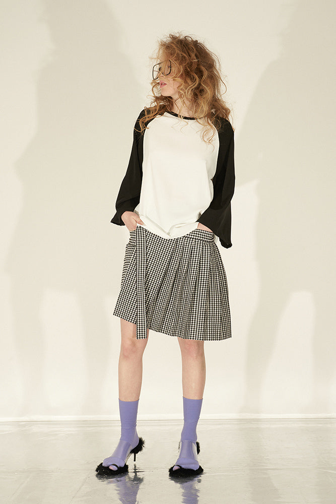 Gingham Skirt Style Shorts With Removeble Pleates - front row shop