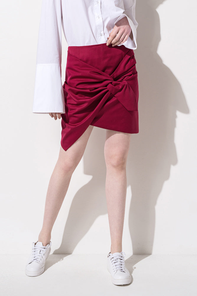 Wine Red Tie Front Ruffled Mini Skirt