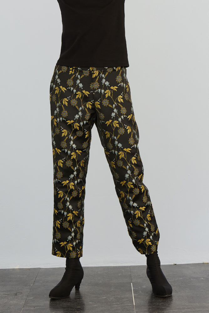 Cropped Printed Flared Trousers - front row shop