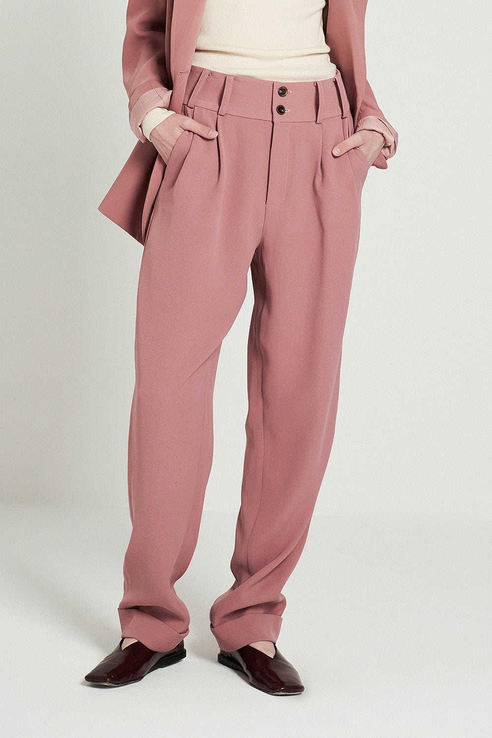 Suit Tapered Trouseres-Pink
