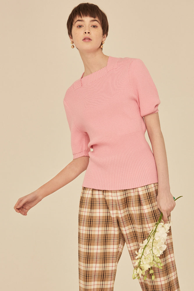 Soft Square Neck Rib Knit Top-Pink