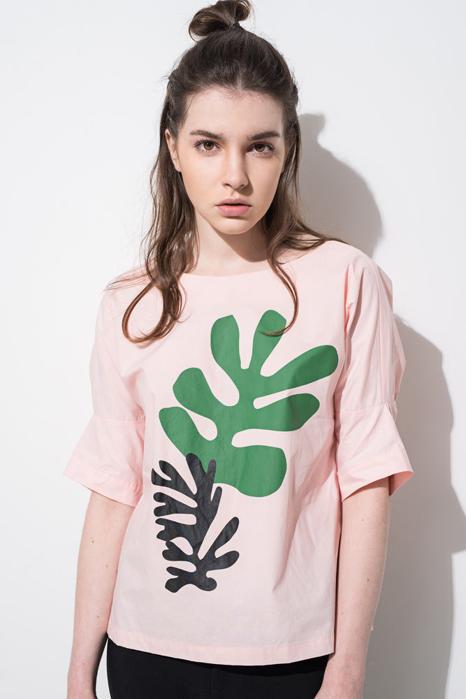 Pink Leaf Print Lace-up Back T-shirt