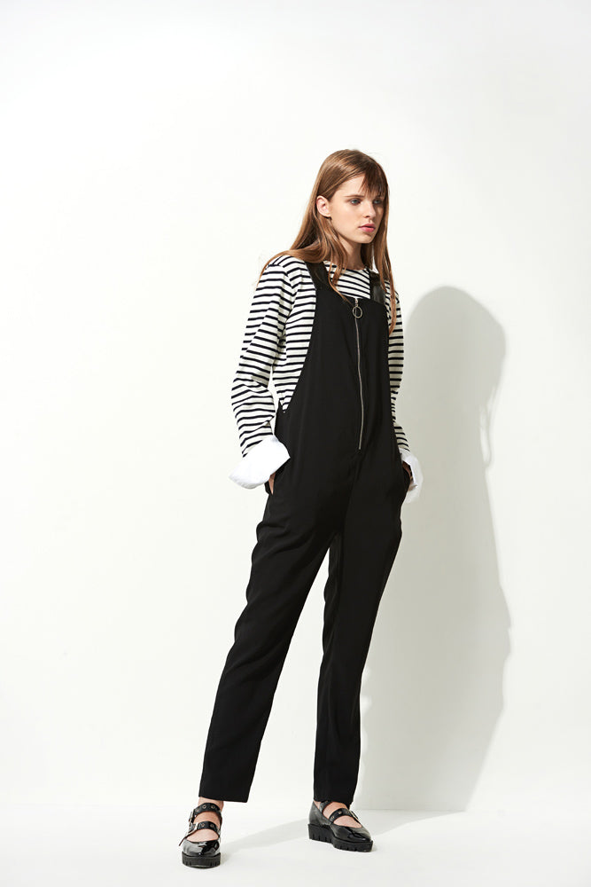 Black Zip Front Overall - front row shop