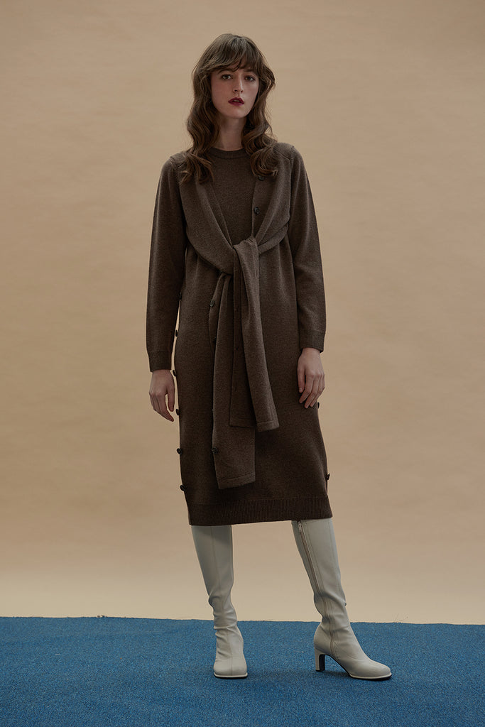 Multifunctional Merino Wool Dress-Coffee Brown