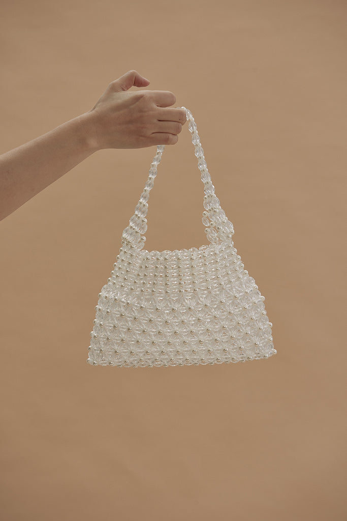 Flower Pearl Embellished Bag-White