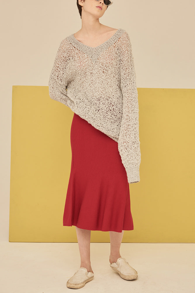 Mermaid Knit Skirt-Burgundy - front row shop