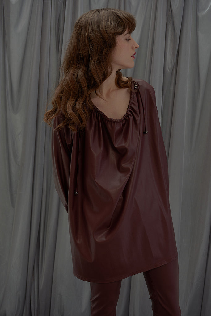 Dropping Collar Shirt-Burgundy