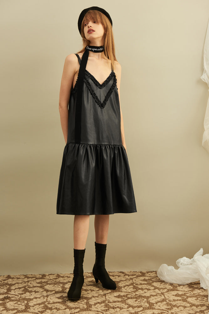 Ruffle-trimmed Slip Dress