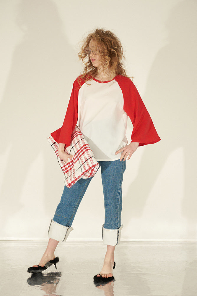 Color Block Kimono Sleeve Shirt-Red - front row shop
