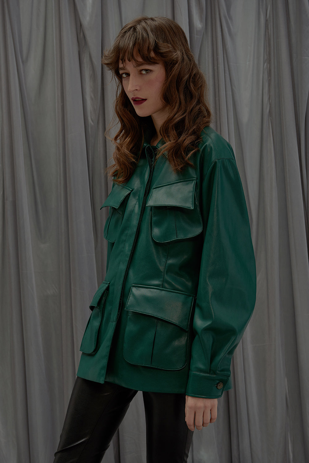 Four Pockets Jacket-Dark Green