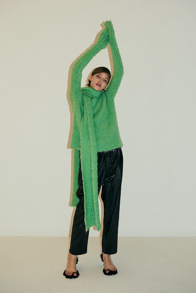 Annie Knit Sweater with scarf-Fluo Green