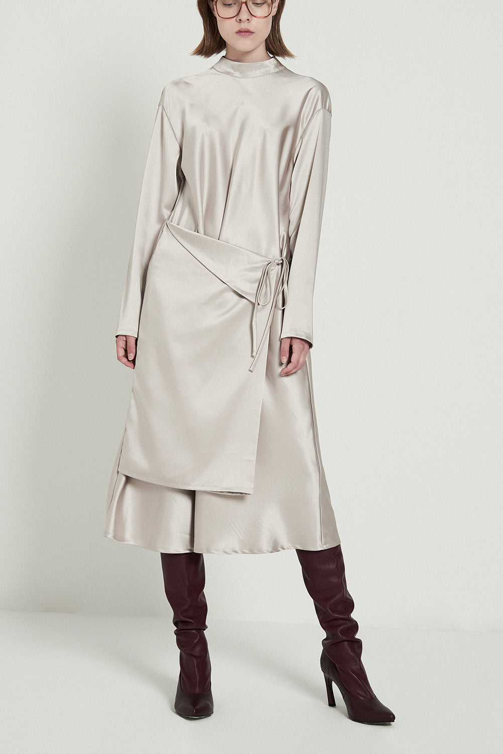Shiny Turtleneck A-line Dress-Light Apricot