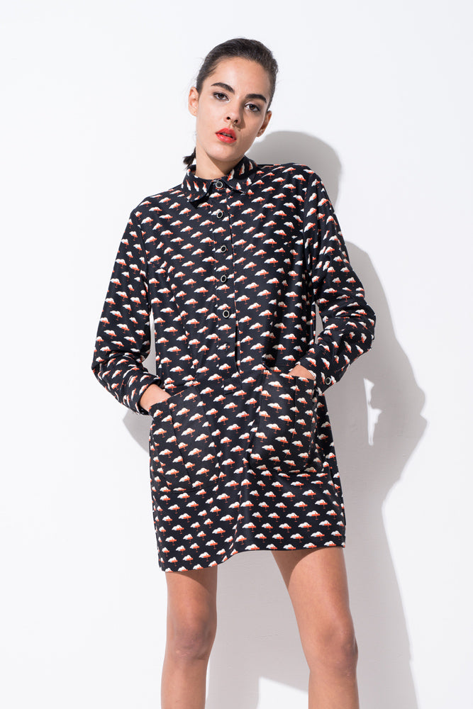 Airplane Print Shirt Dress - front row shop