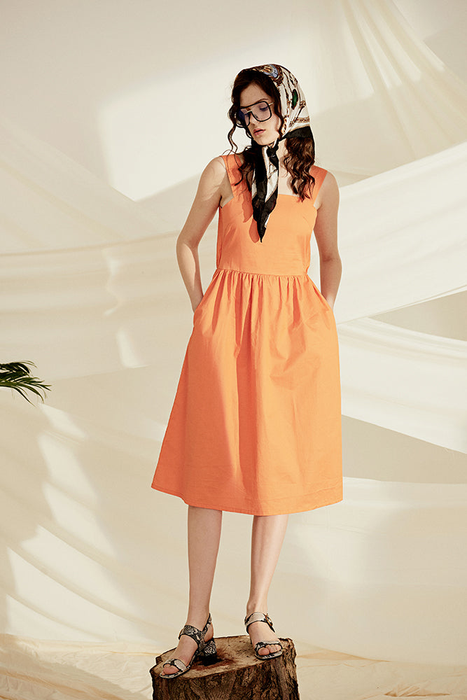 Lace Up Back Smock Dress-Orange - front row shop