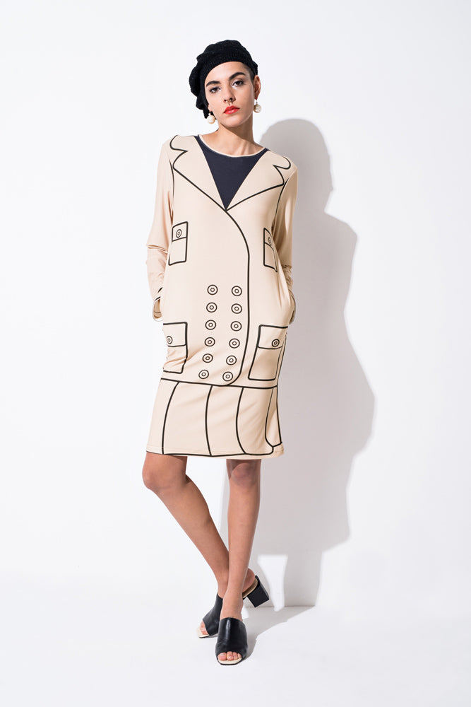 Camel Graphic Print Mock 2-piece Dress