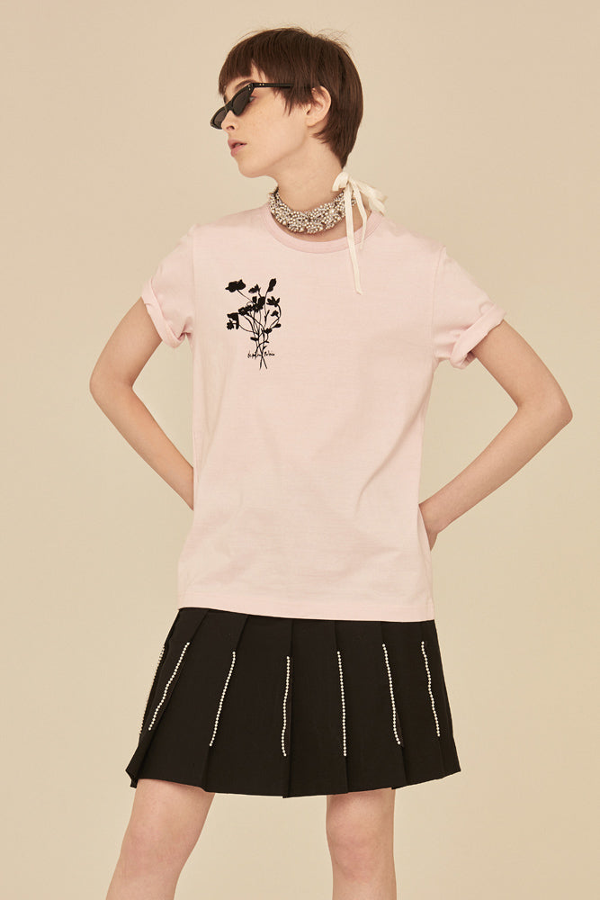 Flocked Floral T-Shirt-Pink - front row shop