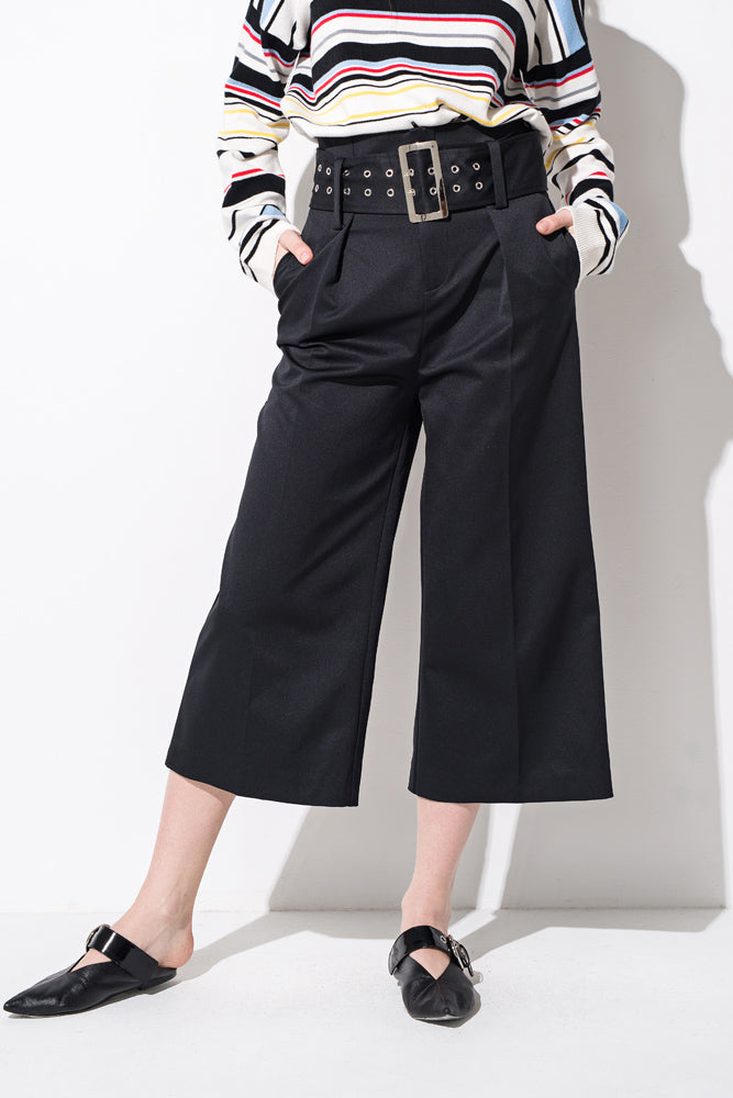 Black High Waisted Belted Wide Leg Pants - front row shop