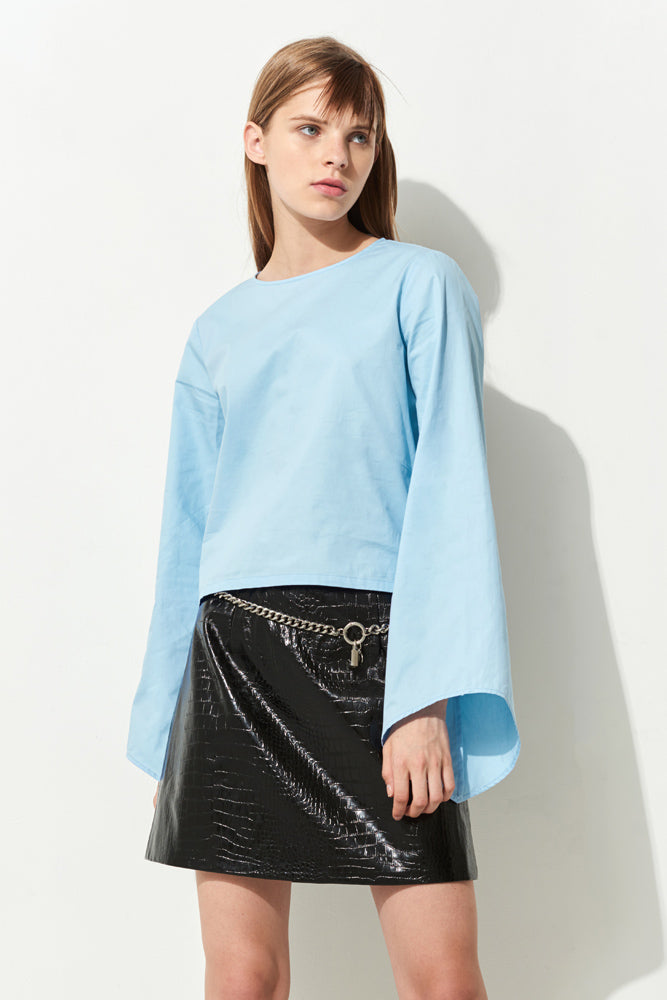 Blue Bell Sleeve Crop Shirt - front row shop