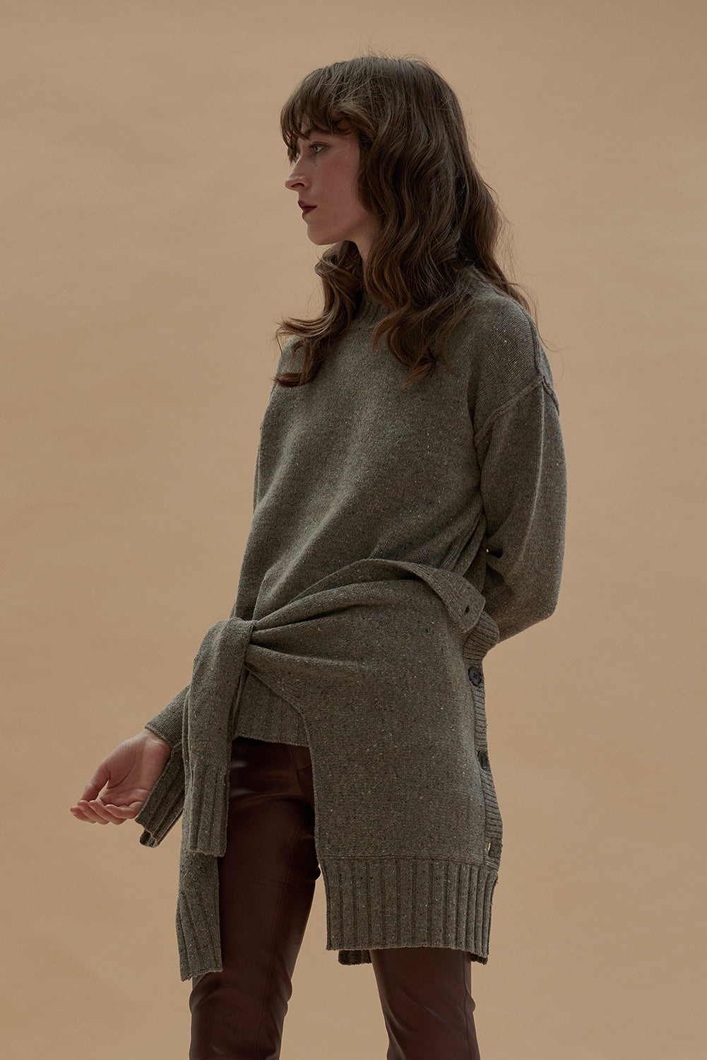 Merino Wool Pullover with Scarf-Sand Melange
