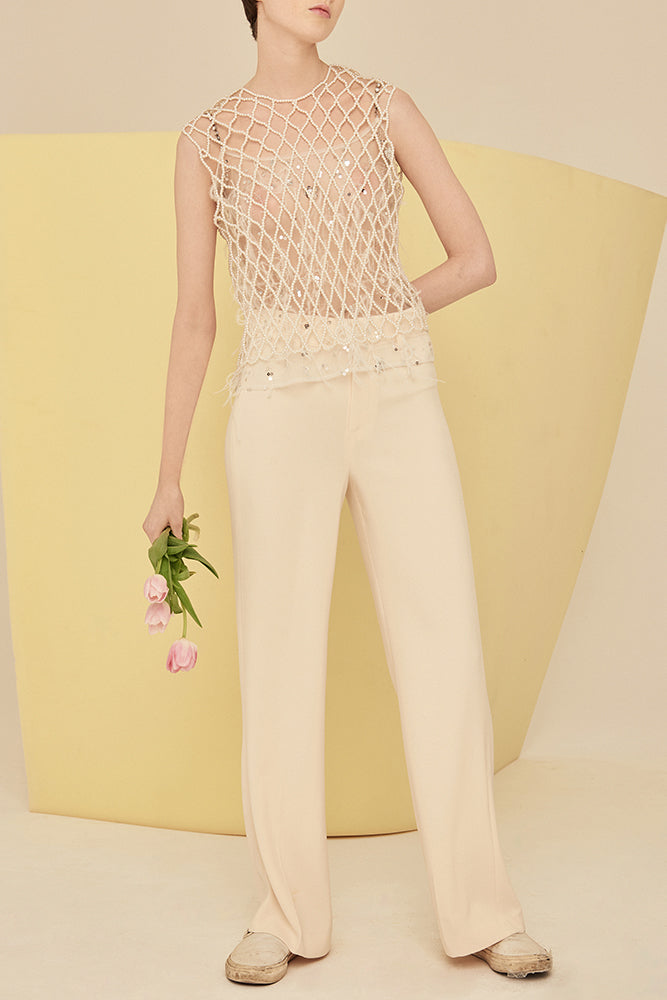 High Waist Tailored Peg Trousers-Cream - front row shop