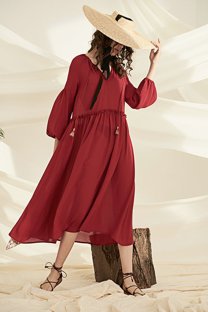 Vintage Style Smock Dress- Red