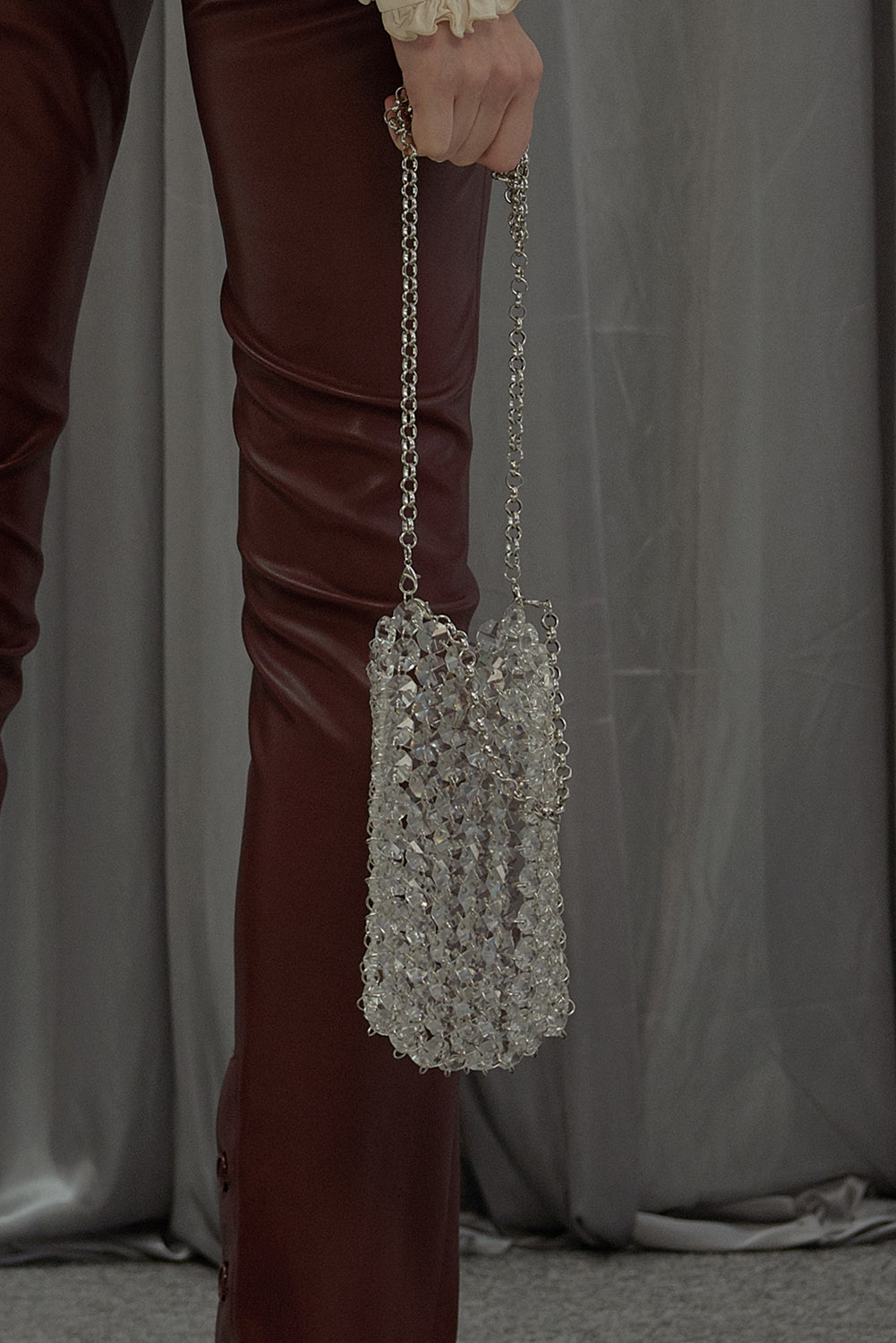 Small Heart of Glass Shoulder Bag-Silver-Tone