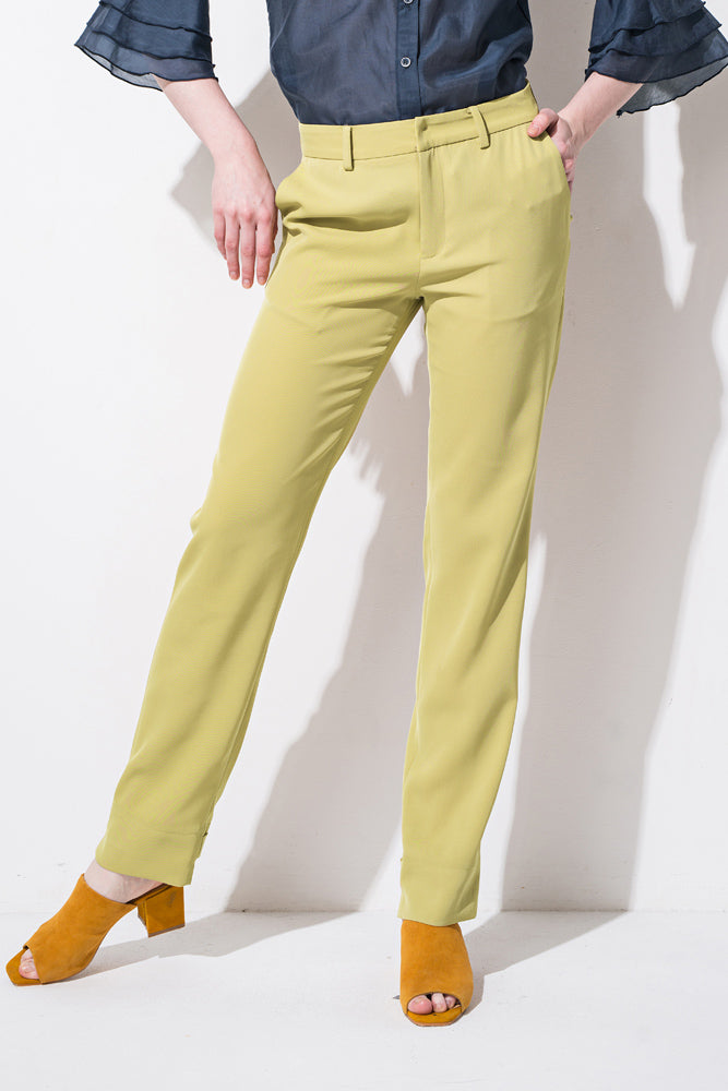 Yellow Slim Straight Pants