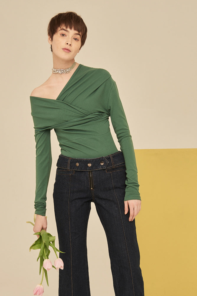 Off The Shoulder Crossed Wrap Knit Top-Green - front row shop