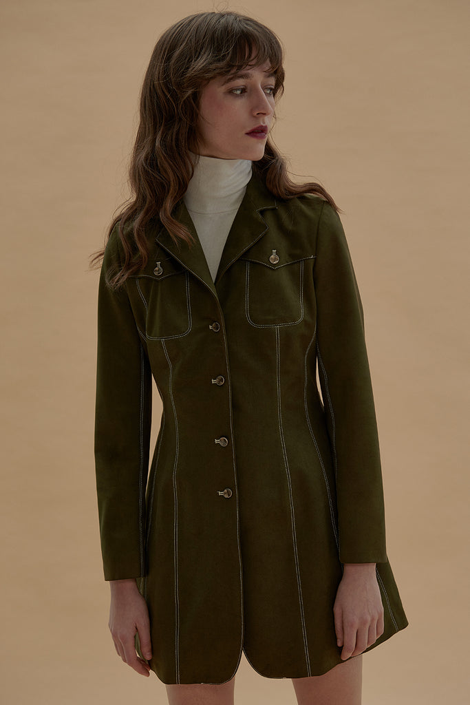 Backfired Blazer Coat Suede-Moss Green