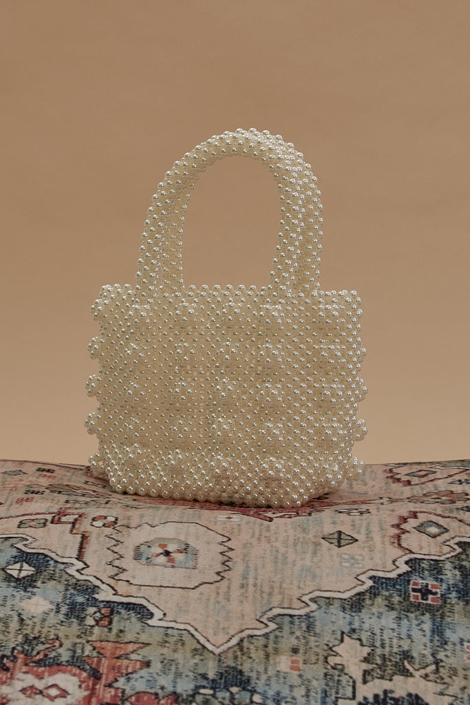 Pearl Embellished Tote Bag-White