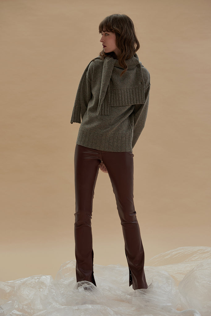 The Female Touch Skinny Pants-Burgundy