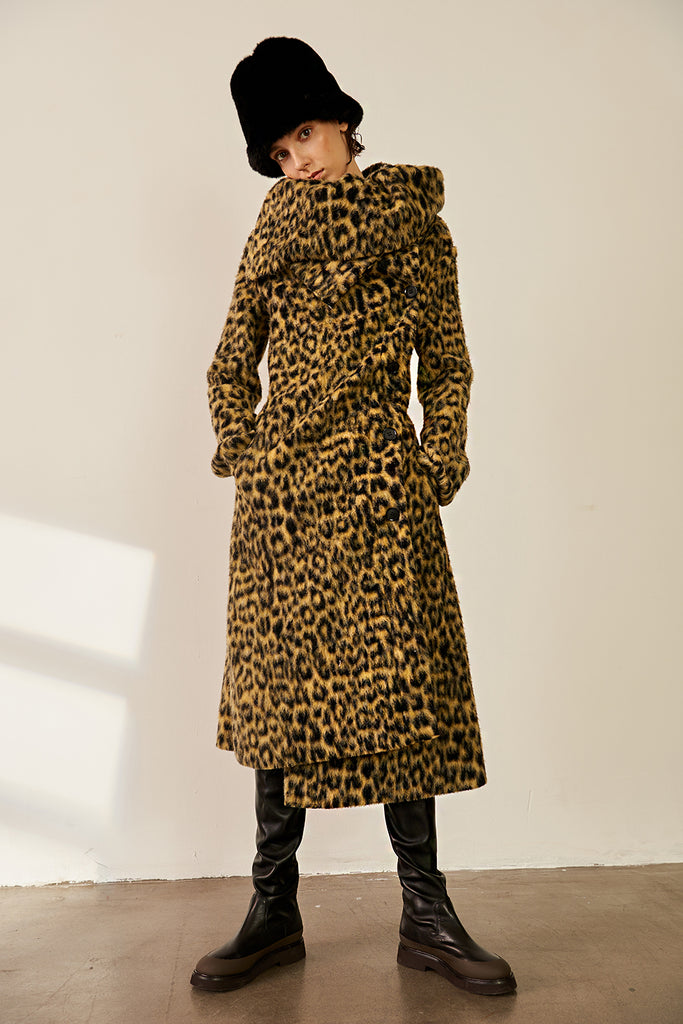 Scarf Style Collar Wool-blend Coat-Leopard Print
