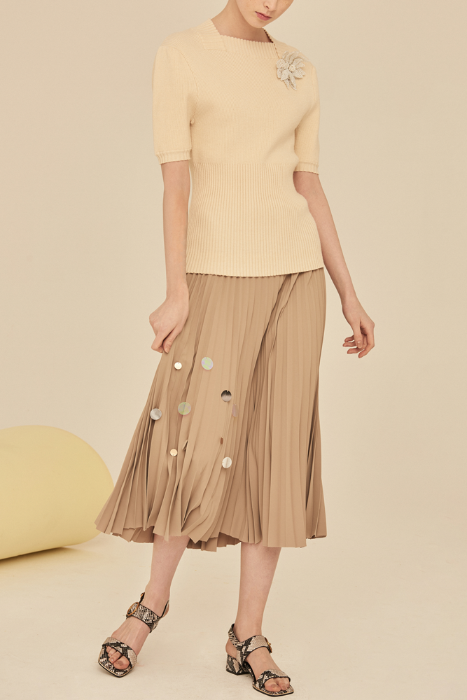 Pleated Midi Skirt With Sequin Detail-Khaki