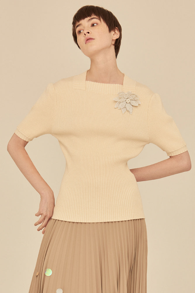 Soft Square Neck Rib Knit Top-Beige