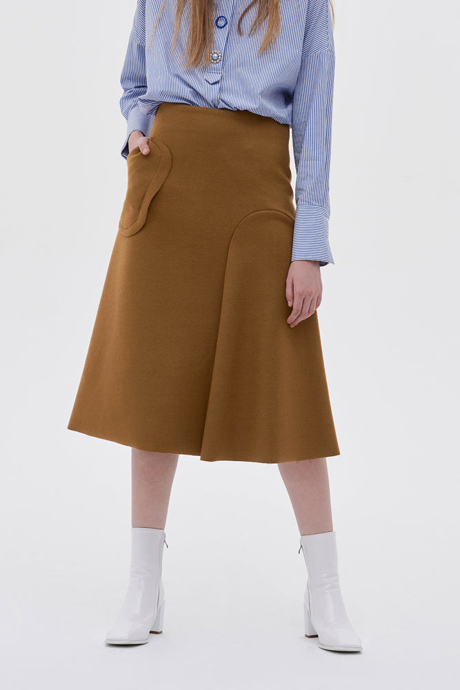 Asymmetric Wool-blend Midi Skirt - front row shop