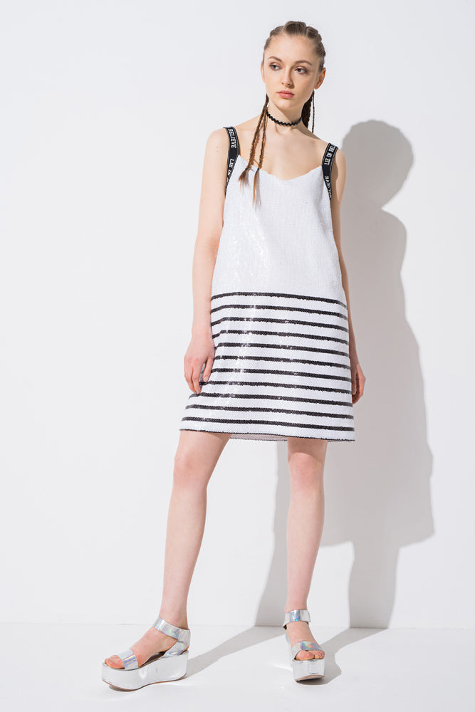 White Sequined Stripe Cami Dress