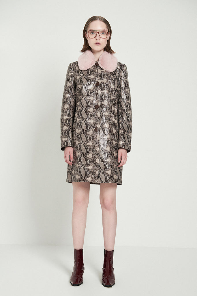 Detachable Faux Fur Collar Snakeskin Print Faux Leather Coat