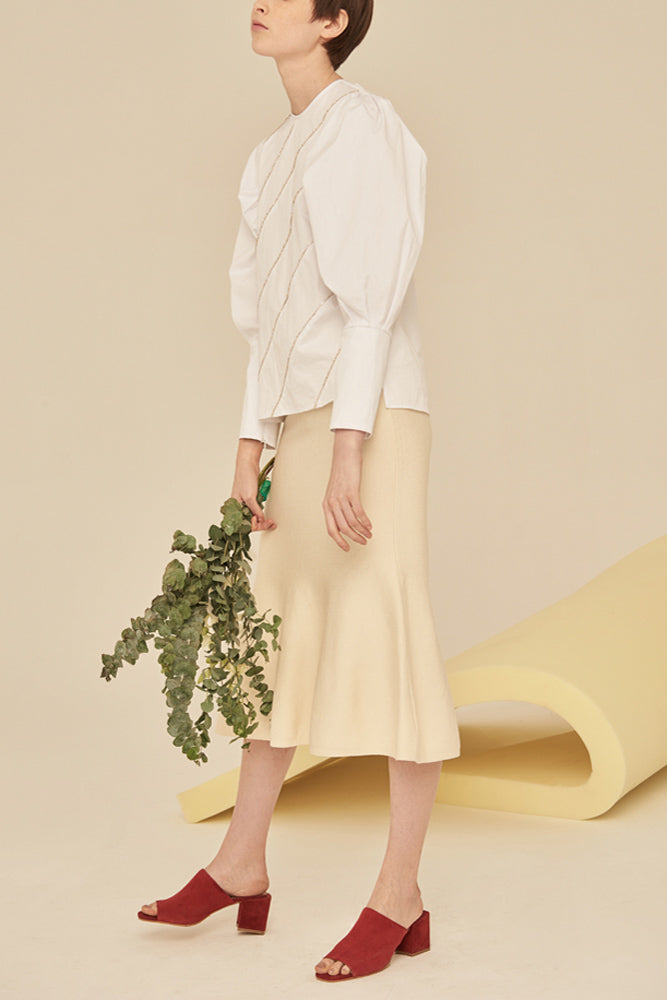 Mermaid Knit Skirt-White - front row shop