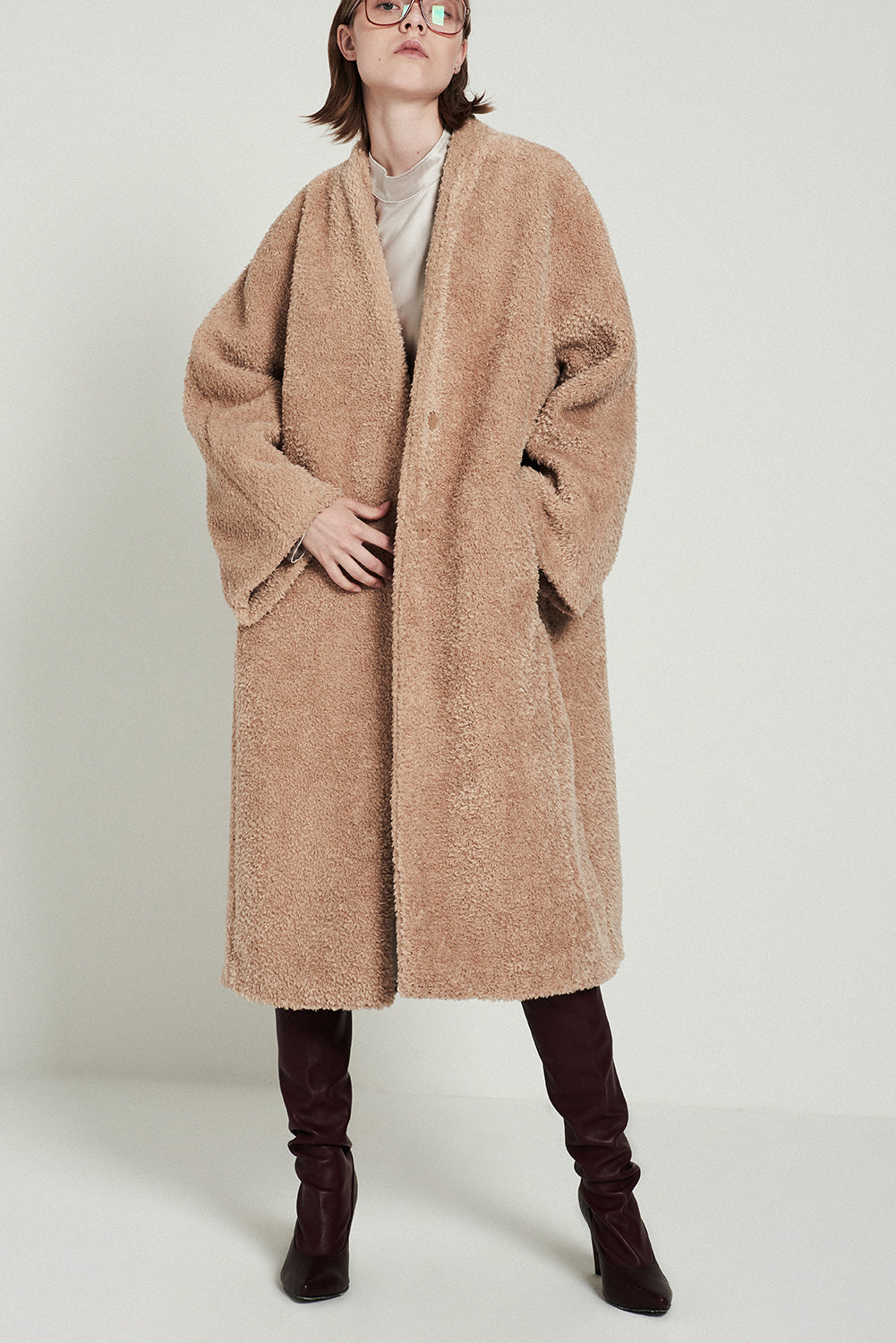 Faux Lambswool Coat - front row shop