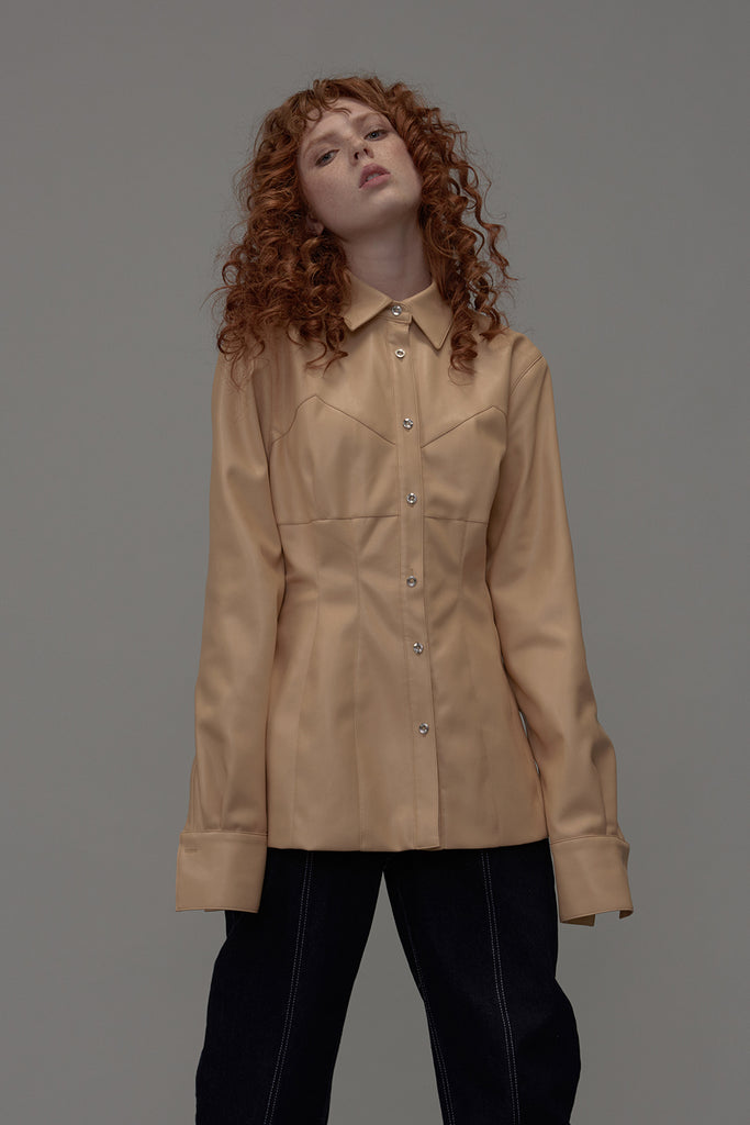 Rush Faux Leather Shirt-Vanilla Yellow