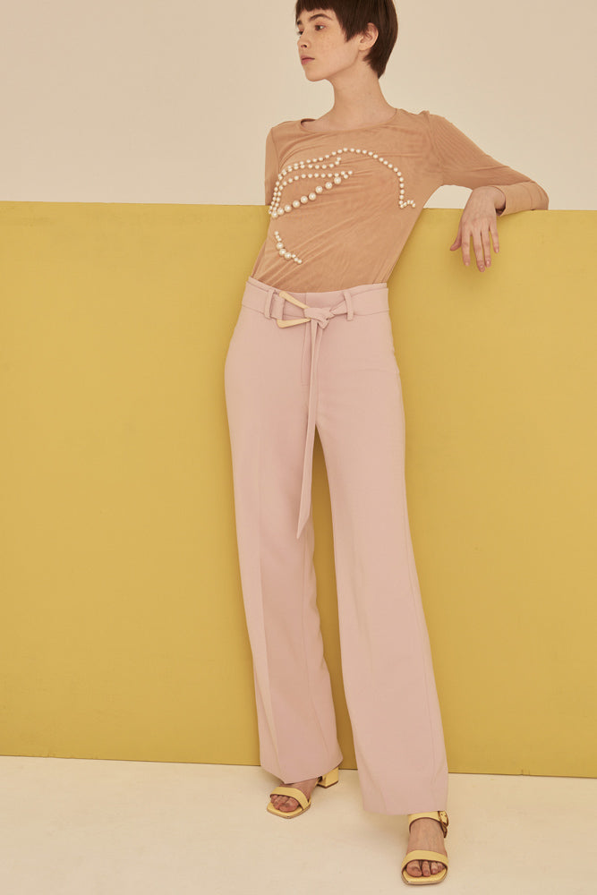 High Waist Tailored Peg Trousers With Buckle Belt-Pink - front row shop