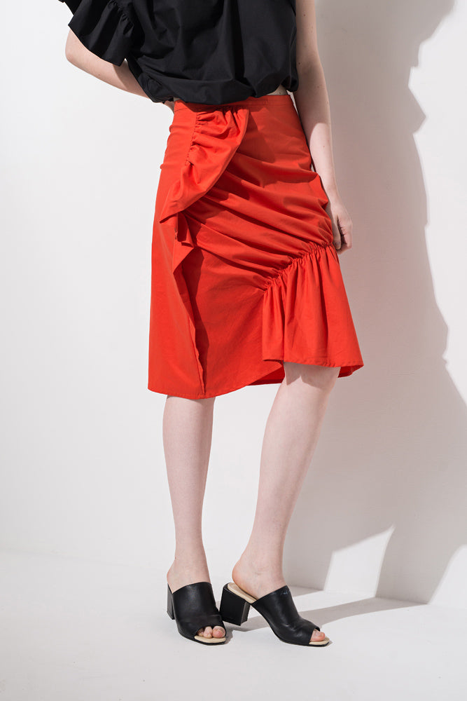 Red Ruffle Knee-length Skirt - front row shop