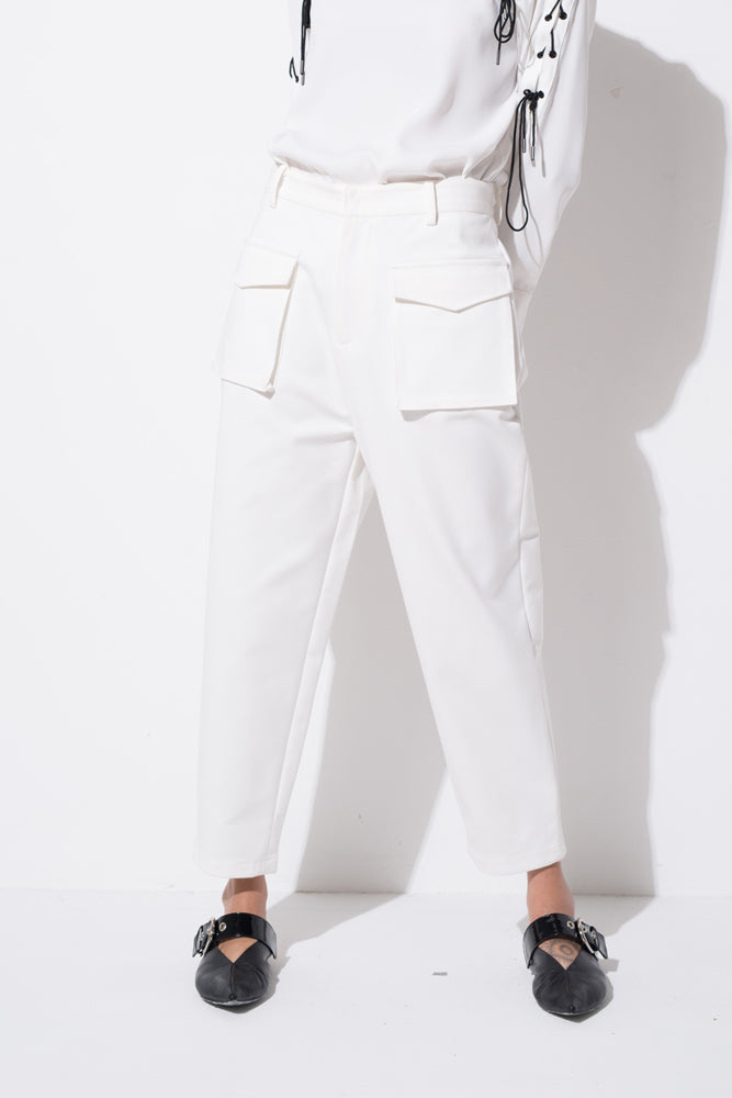 White High Waisted Trousers