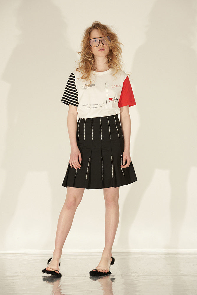 Postcard Pattern Print Color Block T-Shirt - front row shop