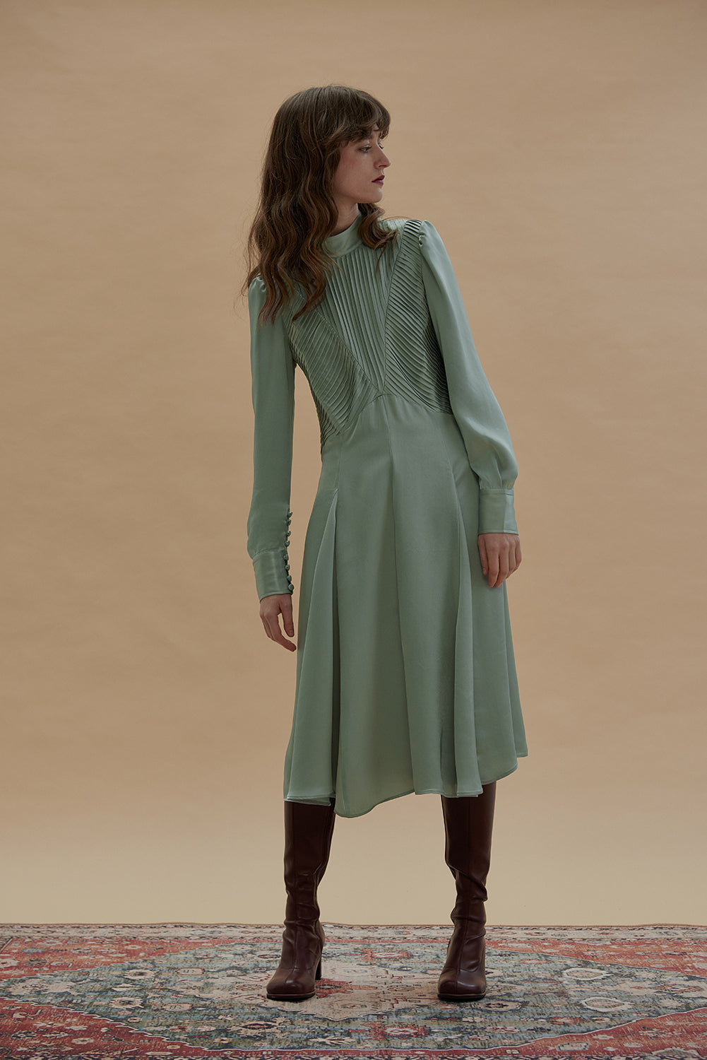 FrenchKissin Dress-Dusty Green
